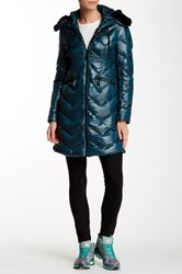 Vince Camuto Faux Fur Collar Mid Length Down Jacket Green