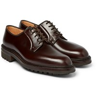 George Cleverley Archie Polished Leather Derby Shoes Dark Brown