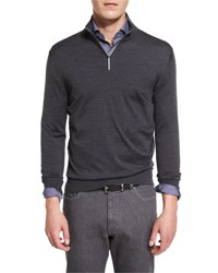 Ermenegildo Zegna 1 4 Zip High Performance Merino Wool Sweater Charcoal