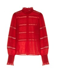 Etoile Isabel Marant Ria High Neck Lace Insert Blouse Red