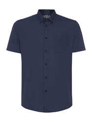 Criminal Blake Short Sleeved Geo Print Shirt Navy