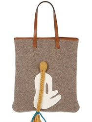Carmina Campus Head With Braid Recycled Wool Tote Bag