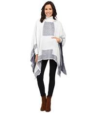 Vince Camuto Border Poncho W Center Pocket Ivory Women's Long Sleeve Pullover White