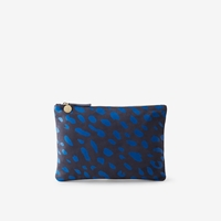 Clare V. Flat Clutch Navy Nubuck W Royal Blue Print