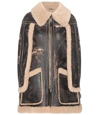 Maison Martin Margiela Shearling Lined Leather Cape Brown