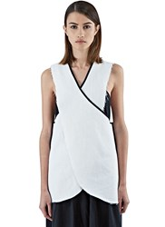 Alexa Stark Sleeveless Denim Wrap Top White