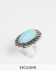 Designsix Turquoise Stone Oval Ring Antiquesilver