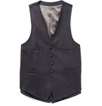 Wooster Lardini Navy Layered Chalk Striped Wool Waistcoat