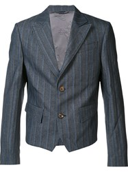 Vivienne Westwood Man Cropped Striped Jacket Blue