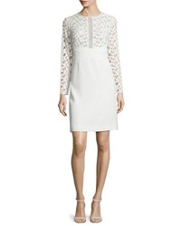 Lela Rose Long Sleeve Lace Inset Tunic Dress White