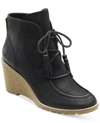 G.H. Bass And Co. Women's Teresa Lace Up Wedge Booties Women's Shoes Black Suede