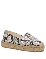 Carmen Marc Valvo Bristol Embossed Faux Leather Slip On Espadrilles Sneakers White
