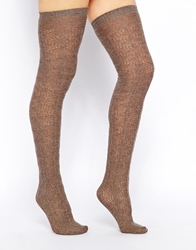Gipsy Cashmere Mix Slouch Over The Knee Socks Taupe