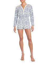 Romeo And Juliet Couture Lace Trimmed Paisley Print Short Jumpsuit Blue Ivory