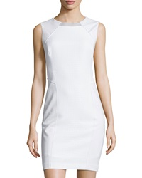 Carmen Carmen Marc Valvo Jacquard Sleeveless Boat Neck Dress White