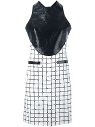 Courreges Contrast Panel Grid Print Dress White