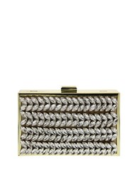 Nina Florabel Crystal Accented Clutch Gold Silver