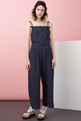 Chloe Sevigny For Opening Ceremony Pinstriped Tie Front Cropped Overalls Navy