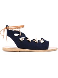 Ancient Greek Sandals 'Antigone' Flat Sandals Blue