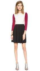 4.Collective 3 4 Sleeve Flirty Dress Dark Magenta Multi