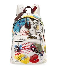 Collage Canvas Backpack Off White Ecru Multi Marc Jacobs