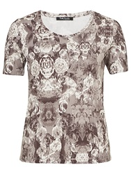Betty Barclay Rose Print T Shirt Taupe Beige