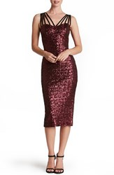 Dress The Population Women's 'Alex' Strappy Sequin Midi Berry
