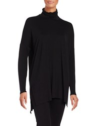 Eileen Fisher Petite Solid High Low Tunic Black