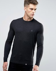 Pretty Green Jumper With Crew Neck In Slim Fit Grey Charcoal