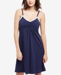 Motherhood Maternity Lace Trim Nursing Nightgown Navy