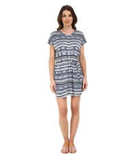 Michael Stars Tribal Print Short Sleeve Shirtdress Indigo Women's Dress Blue