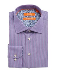 Tallia Orange Striped Cotton Dress Shirt Purple