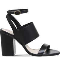 Office Time 3 Leather Heeled Sandals All Black Leather