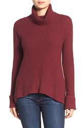 Chelsea 28 Women's Chelsea28 Rib Knit Turtleneck Sweater Burgundy London