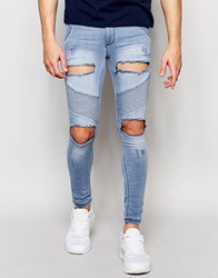 Sik Silk Siksilk Skinny Extreme Skinny Biker Jeans With Distressing Stonewash Blue