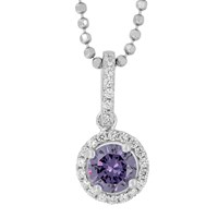 Jools By Jenny Brown Sterling Silver Cubic Zirconia Round Pendant Amethyst