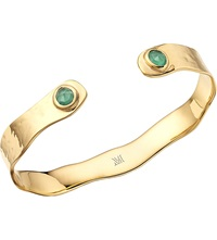 Monica Vinader Siren Gold Plated Thin Cuff With Green Onyx