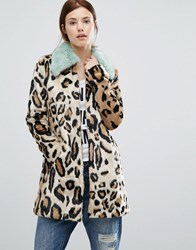 Urbancode Faux Fur Leopard Print Coat With Faux Fur Collar Leopard Brown