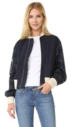 Cedric Charlier Jacket With Plaid Sleeves Navy