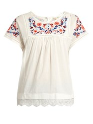 Rebecca Taylor Floral Embroidered Cotton Top White Multi
