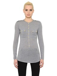Balmain Long Sleeve Wool Jersey Henley T Shirt