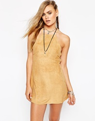 Faux Suede Winnie Dress With Low Back Tan