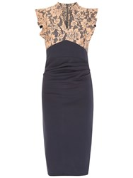 Jolie Moi Lace Ruffle Shoulder Dress Navy