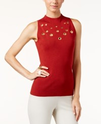 Inc International Concepts Sleeveless Grommet Trim Sweater Only At Macy's Burnt Pepper