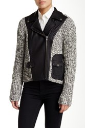 Yigal Azrouel Wool Blend Leather Moto Jacket Multi