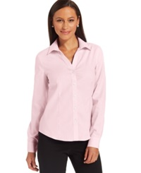 Jones New York Petite Easy Care Button Down Cotton Shirt Cameo Pink