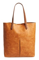 Sole Society 'Clifton' Faux Leather Tote Brown Cognac