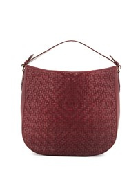 Cole Haan Skyler Woven Leather Hobo Bag Windsor Red