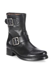 Frye Vicky Engineer Leather Buckle Boots Black