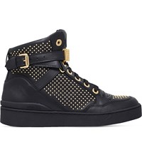 Moschino Studded Leather Trainers Black